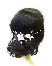 Silver Ivory White Gold Rose Leaves Hair Vine Bridal Headband Headpiece Vtg 1705