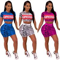 Lady Sexy Short Sleeve Print Bandage Bodycon Skirt Party Clubwear 2PCS Dress Set