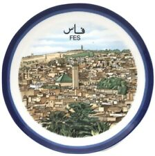 Vtg Moroccan Islamic Arabic Ceramic Pottery Plate COCEMA FES FEZ Medina
