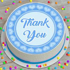 THANK YOU PRECUT EDIBLE ICING SHEET CAKE TOPPER DECORATION 7.5 INCH BDCD20a