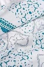 New ANTHROPOLOGIE Enmore Embroidered Blue & White King Duvet 100% Cotton Boho