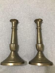 "Pair vintage Silvestri 10.5"" brass candlesticks MCM Art Deco HEAVY"