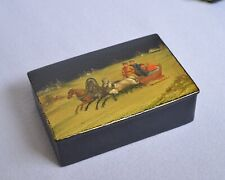 1900 - 1920 Antique Russian Lacquer Hand Painted Miniature Box Winter Troika