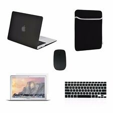 "5 IN 1 Macbook Air 13"" Rubberized Black Case + Keyboard Cover + LCD + Bag +Mouse"