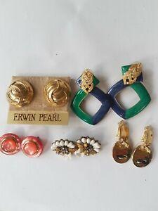KLEIN LEE HASKELL ERWIN PEARL GILT GOLD ENAMEL GLASS VTG LOT 5 EARRINGS DESIGNER