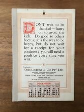 ANTIQUE DECEMBER 1924 CALENDAR OSBOLDSTONE CO MELBOURNE PRINTER VINTAGE CARD