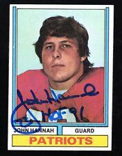 1974 Topps John Hannah Autographed RC Rookie Card W/ HOF 91 Insc Patriots