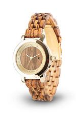 Laimer Holz Armbanduhr Damenuhr Jenny 0066 Zebrano Holz mit Swarovski Kristallen