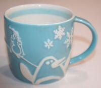 Starbucks Coffee Holiday 2007 Blue & White Penguin 8 Oz Tea Cup Mug Pre Owned