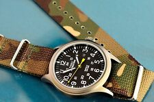 VINTAGE TIMEX MILITARY STYLE 24 HOUR 40MM INDIGLO WATCH, CAMOUFLAGE STRAP