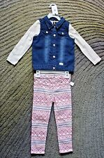 7 For All Mankind Toddler Girls 3 Piece Outfit (Vest, Shirt,Pants) -Size 4T -NWT