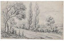 DESSIN ANCIEN XIX ème - ECOLE FRANCAISE DATE 1842 - CRAYON - 26 X 16 cm