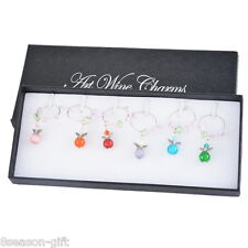 1Box Mixed Christmas Angel Glass Wine Charms Table Mark Ring Decorations
