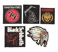 Set of 5 Rock Heavy Metal Band Embroidered & Woven Sew/ Iron On Patches