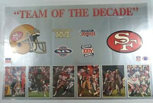 """San Francisco 49ers """"Team Of The Decade"""" Superbowl Poster - Starline - 1990"""