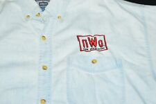 WCW NWO Wolfpack Blue Denim Button Down Long Sleeve Shirt Mens XL Sewn Red Black