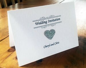 10 Tent-Fold Wedding Invitations Evening Invites Handmade and Personalised