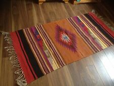 Handwoven Wool Zapotec Mexican Rug 30x 58 Warm Colors Vintage
