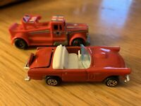 Lot of 2 Vintage Kidco Cars From the 70's & 80's - - - Red car, Red wrecker
