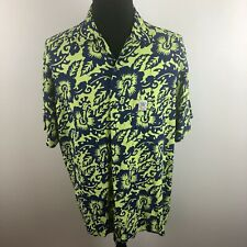 Mambo Loud Shirts Green Blue Short Sleeve Button Front Shirt Men's Medium M
