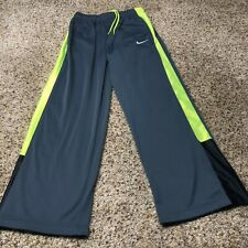 Nike Youth Practice Overtime Basketball Athletic Track Pants Green Gray Large