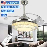 "42"" Remote Invisible Blade Silver Ceiling Fan Light Crystal LED Chandelier TS."