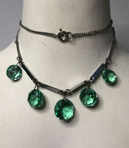 Vintage Glass Dropper Necklace Link 1970s 1980s Art Deco Style Jewellery Jewelry