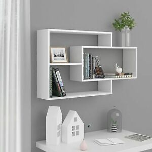 Floating Shelves White Rack High Gloss Wall Mounted Cube Cuboid Storage Display