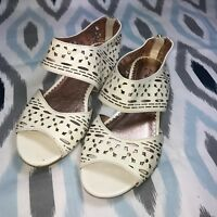 Miss Albright Size 6/6.5 Anthropologie Cream Cutout Sandals Patent Leather Studs