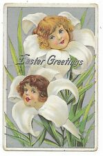 ANTIQUE FANTASY EASTER POSTCARD GIRLS HEADS WHITE LILY SILVER BACKGROUND 1920