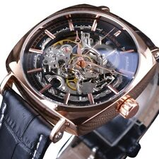 Men's Royal Skeleton Watch Automatic Mechanical Black Leather Luxury Square Dial