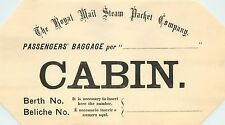 Royal Mail Steam Packet Company - Historic Old STEAMSHIP Luggage Label, c. 1910