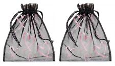 LOT OF 2  VICTORIAS SECRET LINGERIE BAGS MESH DRAWSTRING BLACK W/ PINK HEARTS
