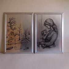 2 lithographies aluminium art nouveau encadrées signées lithographs signed TOTI