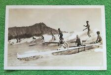 vintage/antique HAWAII WAIKIKI SURF RIDING RPPC photo postcard, used SURFERS
