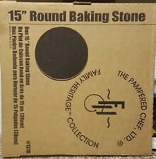 "Pampered Chef Family Heritage Collection 15"" Round Baking Stone #1370 + Scraper"