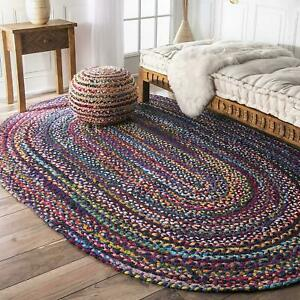 Rug Indian Handmade Hand Braided Blue Oval Area Rag Floor Mats 4 X 6 Feet