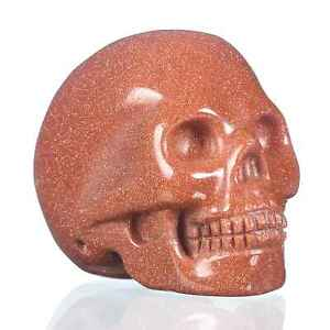 """1.97""""Red Gold Sand Carved Skull Metaphysic Healing Power #33F78"""