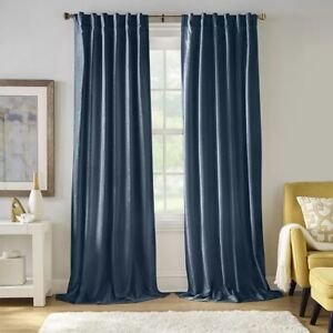 NEW~Pair Carnaby Distressed Velvet Window Curtain Panel Drapes~Denim Blue 50x84