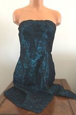 * Calvin Klein Womens Size 8 Teal & Black Party Dance Cocktail Dress Strapless