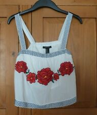 Ladies White Floral Cropped Strappy Top Size Medium (12) FOREVER 21