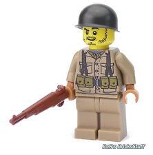WW2 WWII Custom US Soldat mit BrickArms M1 Garand, Figur aus LEGO® Teilen