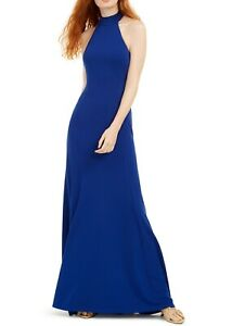 Teeze me Gown Dress Royal Blue Size 3 /4 Junior Halter Seamed Solid $89- 016