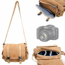 Tan Canvas Carry Bag / Case for Canon Powershot SX530HS w/ Shoulder Strap
