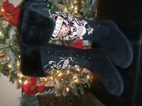 "Women's Ed Hardy ""Love Kills Slowly"" Black Tall Suede Winter Boots Sz 6 Skull"