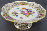 """Carl Thieme Dresden Hand painted Floral & Gold Reticulated 9 7/8"""" Wide Compote"""