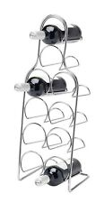 Pisa Freestanding Metal Chrome 10 BOTTLE WINE RACK Kitchen Stand Bottle Storage