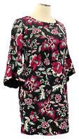INC 0X black floral bell sleeve stretch knit bodycon dress w/back zipper closure