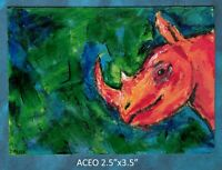 Original ACEO - Rhino Abstract - miniature acrylic painting, not framed