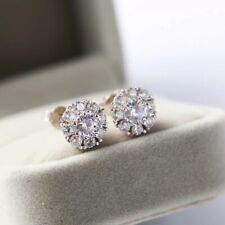 NEWSilver Crystal Lab Diamond Stud Earrings Gift